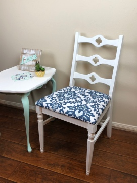 White & Blue Ikat Antique Chair