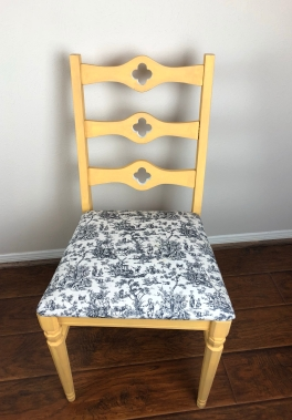 Antique Yellow & Toile Chair
