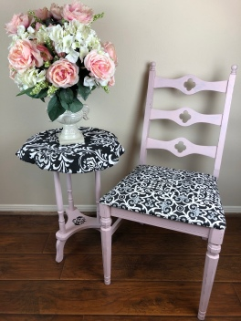 Antique Black & White Scroll Chair